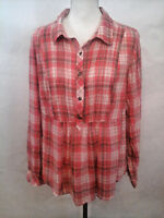 Torrid Womens Size 1 100% Cotton Red Cream Striped Plaid Roll Sleeve Blouse Top