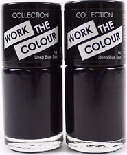 2 Pack Collection 2000 Work The Colour Nail Varnish Polish Deep Blue Sea Shade