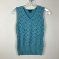 Brooks Brothers Womens Silk Blend V-Neck Argyle Sweater Vest Teal Size Small S