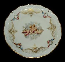 """VTG LIMOGES FRANCE THREE CHERUBS CABINET PLATE PORCELAIN WITH STAND 10 3/4"""" MINT"""