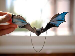 Stained glass bat decor Halloween bat Halloween decor Bat suncatcher for window