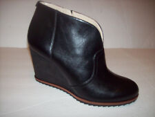 New Dr.Scholls INDA women's black leather wedge ankle boots Sz 7M-6.5M
