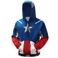 Captain America Hoodie Sweater Cosplay Costume Hooded Jumper Coat Sweatshirt