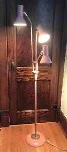 1950's Lightolier Gerald Thurston  Floor Lamp Mid Century Modern Pink Mint