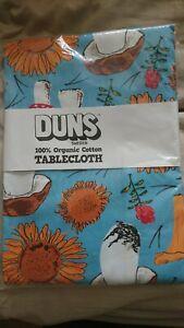 BNWT duns sweden sunflower mushroom table cloth (or single bed sheet) blue