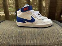 Nike Court Borough Mid 2 GS White/Game Royal (CD7782 101) Size 4.5Y