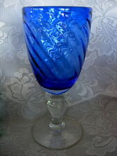 Collectible HOME STUDIO Tall Heavy Cobalt Blue Swirled Blown Glass Water Goblet