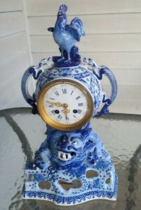 Fine Antique Delftware French Chinoiserie Mantle Clock by Japy Freres W/ Dragons