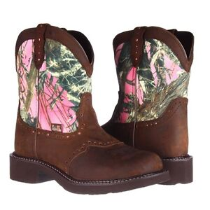 Justin Ladies Gypsy Aged Bark/Pink Camo Boot L9610