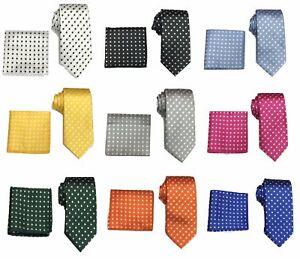Men's Woven Polka Dot Tie & Hanky Handkerchief Pocket Square Set