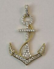 Anchor CZ Pendant. Vermeil, 14k Gold plated over 925 Sterling Silver. 1.25 Inch
