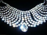 EARLIER VINTAGE Fabulous Draped Diamond Glass Paste Crystal Pear Drop NECKLACE