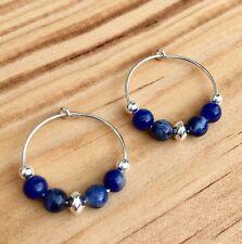 BLUE SODALITE & 925 STERLING SILVER 20MM HOOP EARRINGS -GEMSTONE CRYSTAL HEALING