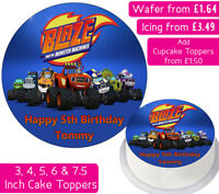 BLAZE & THE MONSTER MACHINES GANG EDIBLE WAFER & ICING PERSONALISED CAKE TOPPERS