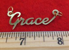 """14KT GOLD EP """"GRACE"""" PERSONALIZED NAME PLATE WORD CHARM PENDANT 6148"""