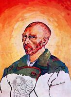 Self-portrait study by Vincent Van Gogh Giclee Fine Art Print Repro on Canvas