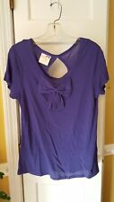 Tommy Girl Purple Short Sleeve Bow Front Top With Keyhole Back Size L