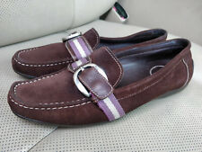 Bally Switzerland Tuxa Womens Suede Web Stripe Loafers Shoes Flats Brown Leather