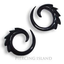 Paar! 4mm Dehnungsspiralen Spirale Sichel Horn Tunnel  Plug Piercing 013