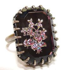 SoHo® Ring mit großem handgemachten böhmischen Strassstein schwarz veilchen
