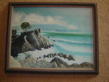 VINTAGE 1979 seacsape ocean original oil PAINTING  rock island waves signed