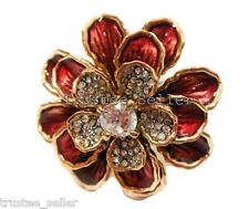 JUICY COUTURE Designer Vintage Red Rose CZ Crystals Large Cocktail Ring Gift Box