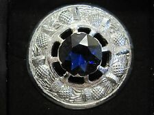 "NEW Large Scottish Blue Stone 3"" Brooch Chrome Finish Kilt Fly/Piper Plaid"