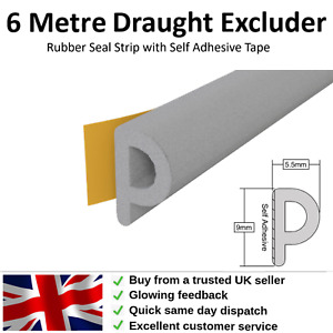 Draught Excluder Weather Seal Strip 6m for Windows and Doors Self-Adhesive Tape