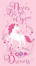 Timeless Treasures Fabric - Never Let Go of Your Dreams Unicorn Panel - Cotton