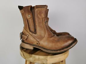 MEN'S CATERPILLAR VINSON DISTRESSED BROWN LEATHER ANKLE BOOTS, UK 6 WIDE WIDTH