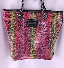 Betsey Johnson Betseyville Tote Purse Sequin Neon Zebra Print Shoulder Bag