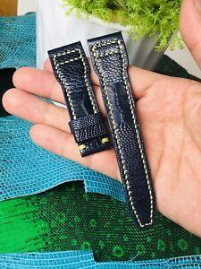 22mm/18mm GENUINE Dark Blue OSTRICH Leg LEATHER Skin WATCH STRAP BAND # K11