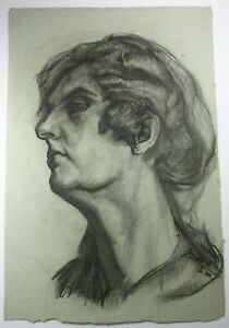 Kohlezeichnung Porträt Mann seitlich sign. dat. O. Binder 03.1910