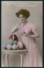 Edwardian Lady Easter Egg Coloured original vintage old 1910s photo postcard