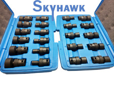 "22PC  3/8"" Dr Impact Wrench Universal Swivel Sockets Tool Set Kit Metric/SAE"