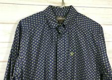 Men's Ariat Western Shirt Long Sleeve Button Front Navy Blue Cotton Large