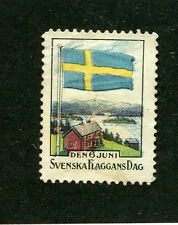 Vintage Poster Stamp Label SVENSKA FLAGGANS DAG 1920 Sweden Flag Day