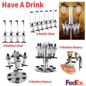 4/6 Bottles Liquor Dispenser Rotary/Shots Wall Mount Wine Drinks Whisky Beer Bar