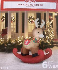 Gemmy 6' Airblown Rocking Reindeer Christmas Inflatable Illuminated