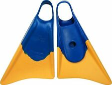 Churchill Makapuu Swim Fins Adult Small 5-6.5 Yellow Blue with Mesh Bag BRANDNEW