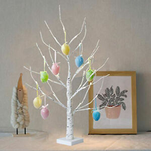 Easter Tree Decorations with Lights Led Light Up Twig Tree For Hang Eggs Gifts