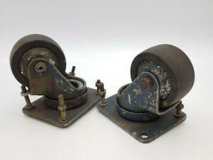 """Vintage 2 Piece Darnell 73-D Rolling Swivel Caster Wheel Pivot Industrial 2.5"""""""