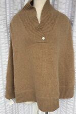 Portolano Women's Wool Blend Poncho Pullover Sweater Beige Marcus New NWT