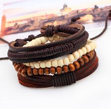 New Handmade Ethnic Leather Wooden Beads Adjustable Bracelet Wristband