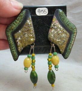 Anita Silverstein Copper Enamel Green earrings. Beaded.