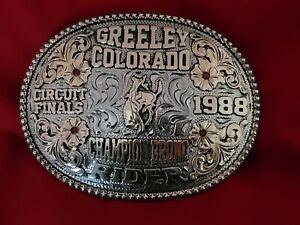 RODEO TROPHY BUCKLE CHAMPION VINTAGE~BRONC RIDING☆1988☆GREELEY COLORADO #261
