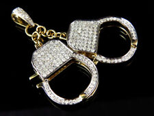 10K Yellow Gold Genuine Diamond Mini Functional Hand Cuffs Pendant (1.50ct)