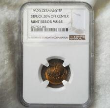 NGC NAZI SWASTIKA ERROR COIN MS-64 1939-D 5 ReichsPfennig-Germany 3rd-REICH MINT