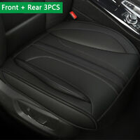 Deluxe PU Leather Seat Cover Protector Pad Mat 3PCS Full Set Universal Car SUV