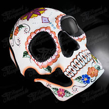 Mens Day of the Dead Full Face Skull White with Flower Halloween Masquerade Mask